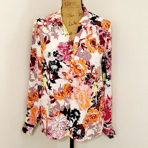 🆕️Dana Buchman•floral graphic top/tunic•l/s•Med.